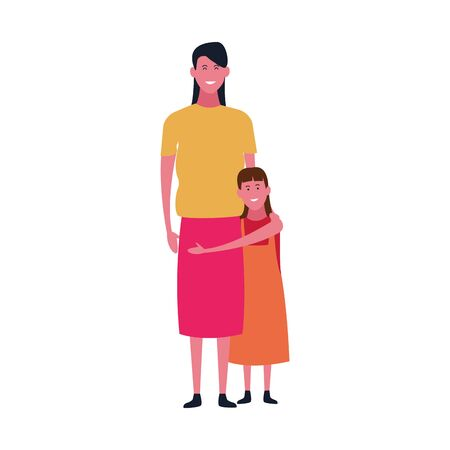 cute mother and daughter icon over white background, vector illustration Ilustracja