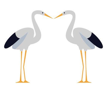 Two storks birds kissing cartoon ,vector illustration graphic design.