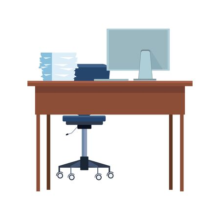 Office desk with computer and documents tray over white background, vector illustration Ilustração