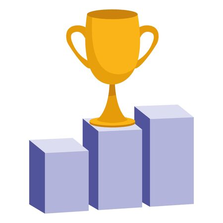 Office elements and business symbols trophy cup on statistics bars ,vector illustration graphic design. Illustration