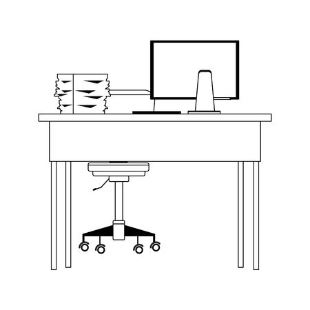 Office desk with computer and documents tray over white background, vector illustration Illustration