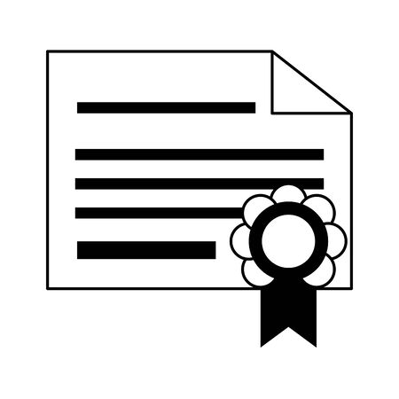 knowledge education element diploma certificate cartoon vector illustration graphic design in black and white