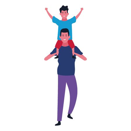cartoon with dad with son on his shoulders over white background, colorful design. vector illustration