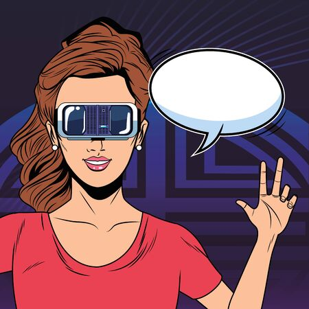 woman with virtual reality headset portrait and speech bubble avatar cartoon character with pop art background vector illustration graphic design
