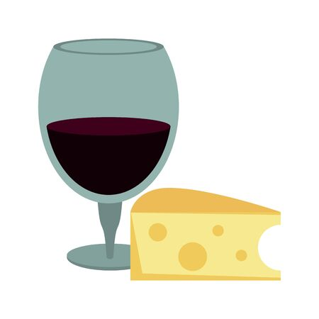 piece of cheese and wine glass icon over white background, vector illustration