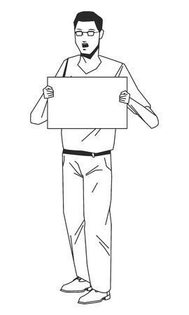 social activity and public protest young man raising a blank sing in black and white avatar cartoon character vector illustration graphic design