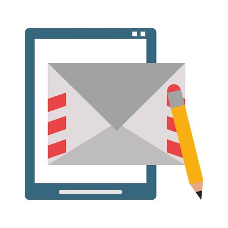 Tablet and letter with pencil symbol vector illustration graphic design Illustration