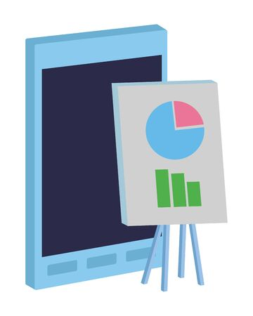 Office elements and business symbols smartphone and whiteboard with graphs ,vector illustration graphic design.