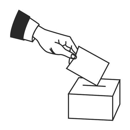 hand puting vote in a box election symbol in black and white icon cartoon vector illustration graphic design