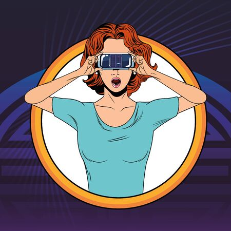 woman with virtual reality headset avatar cartoon character round icon with pop art background vector illustration graphic design 일러스트