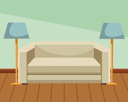 House sofa with light lamps home decoration home building interior scenery with wooden floor ,vector illustration graphic design.