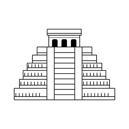 Piramide Maya icona su sfondo bianco, design in bianco e nero. illustrazione vettoriale