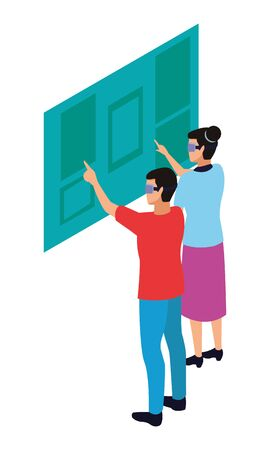 virtual reality technology, young couple living a modern digital experience with headset glassestouching screen cartoon vector illustration graphic design