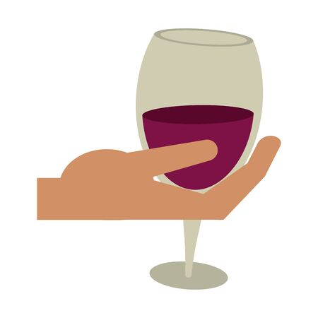 hand holding a glass of wine icon over white background, vector illustration