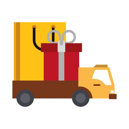 Shopping giftbox and bag in delivery truck symbols vector illustration graphic design