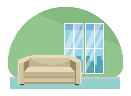 House with sofa chair furniture home scenery vector illustration graphic design.