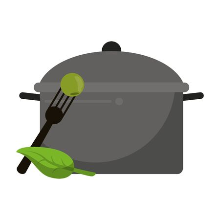 healthy and balanced food mint with cooking pot cartoon vector illustration graphic design