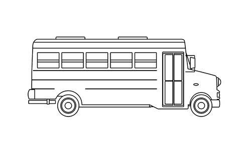 school bus icon cartoon isolated in black and white vector illustration graphic design