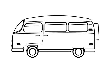 Retro vintage van vehicle cartoon vector illustration graphic design Illustration