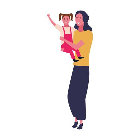 mother with her daughter in arms icon over white background, vector illustration