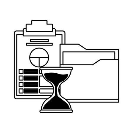 documents folder files with data chart paper on a table and hourglass icon cartoon in black and white vector illustration graphic design