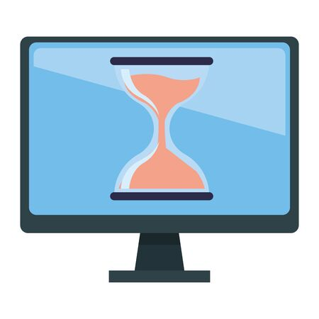 computer screen techonology with hourglass icon cartoon Illustration