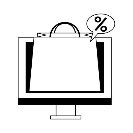 online shopping ecommerce sale, buying by computer cartoon vector illustration graphic design Illusztráció