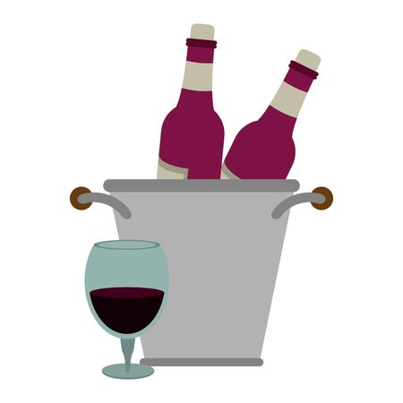 ice bucket with wine bottles and glass of wine over white background, vector illustration