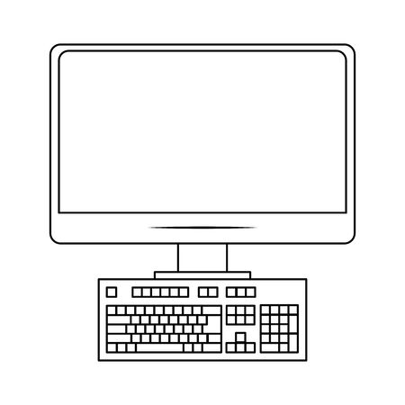computer monitor and keyboard over white background, vector illustration