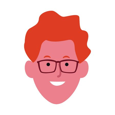 cartoon man with glasses icon over white background, vector illustration 일러스트
