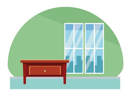 Wooden small cabinet furniture cartoon in house scenery vector illustration graphic design.
