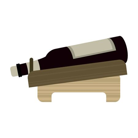 holder with a wine bottle icon over white background, vector illustration