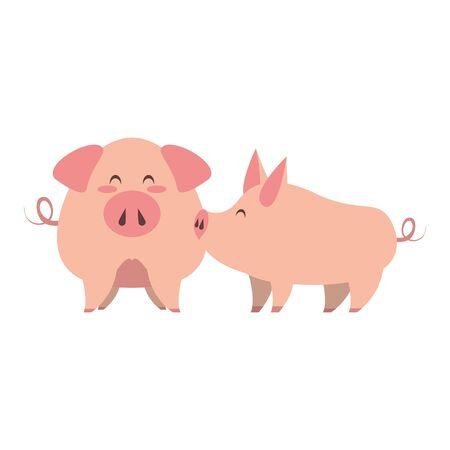 cute animals pigs farm mammal pet cartoon vector illustration graphic design 向量圖像