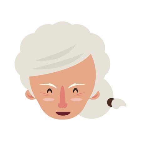 grandparent senior old retirement grandmother face cartoon vector illustration graphic design