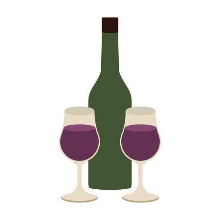wine bottle and glasses over white background, vector illustration