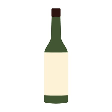 wine bottle icon over white background, vector illustration Ilustração