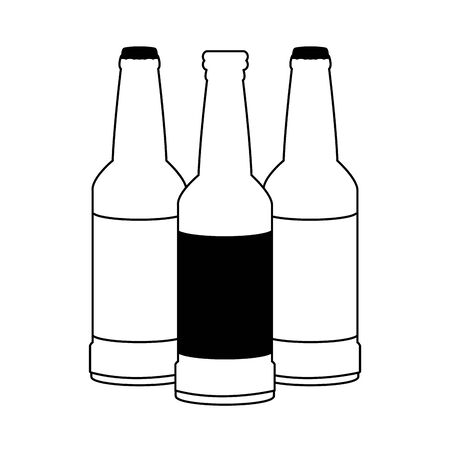 beer bottles icon over white background, vector illustration