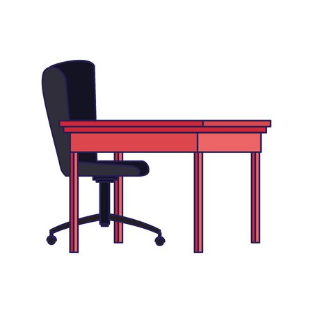 office desk and chair icon over white background, vector illustration Stock Illustratie