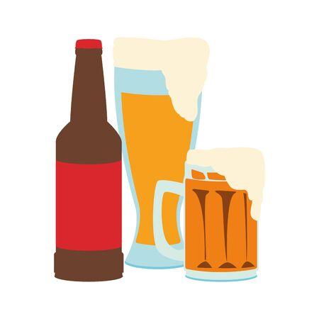beer bottle and mug over white background, vector illustration