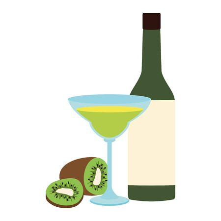 kiwi martini and liquor bottle over white background, vector illustration