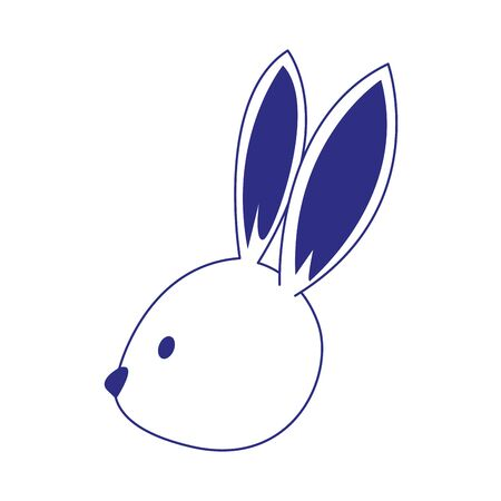 cute rabbit head icon over white background, vector illustration Ilustracja