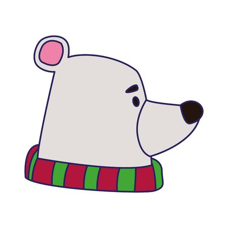 polar bear with scarf over white background, vector illustration