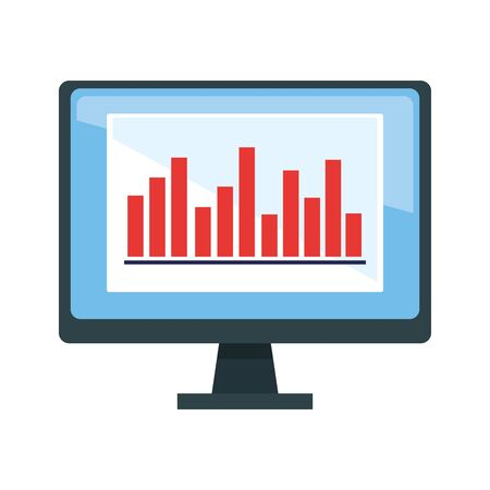 computer monitor with graphic bar chart over white background, vector illustration Illustration