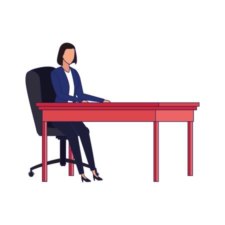 avatar businesswoman at office desk over white background, vector illustration Stock Illustratie