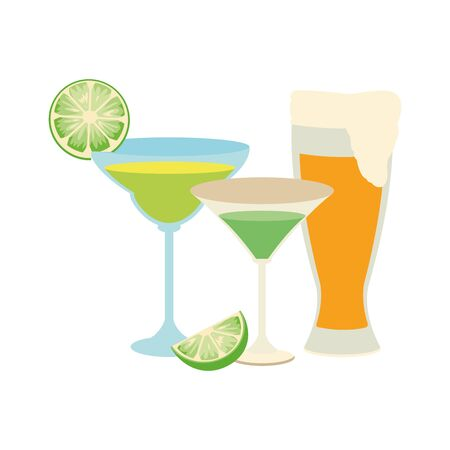 martini cocktails and beer glass icon over white background, vector illustration Illustration