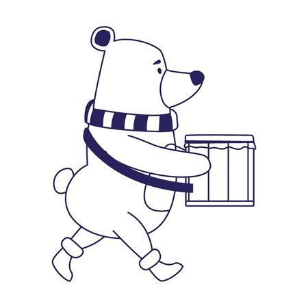 cute polar bear playing a drum over white background, vector illustration