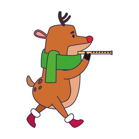 Simpatico cervo che suona un'icona di flauto su sfondo bianco, illustrazione vettoriale