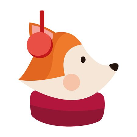 cute fox with scarf and Earmuffs over white background, vector illustration