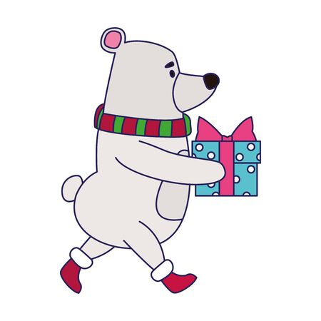 cute polar bear with gift box icon over white background, vector illustration