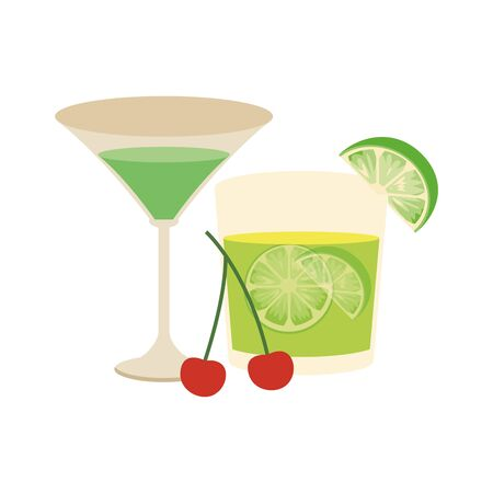 martini cocktail and lemon cocktail icon over white background, vector illustration